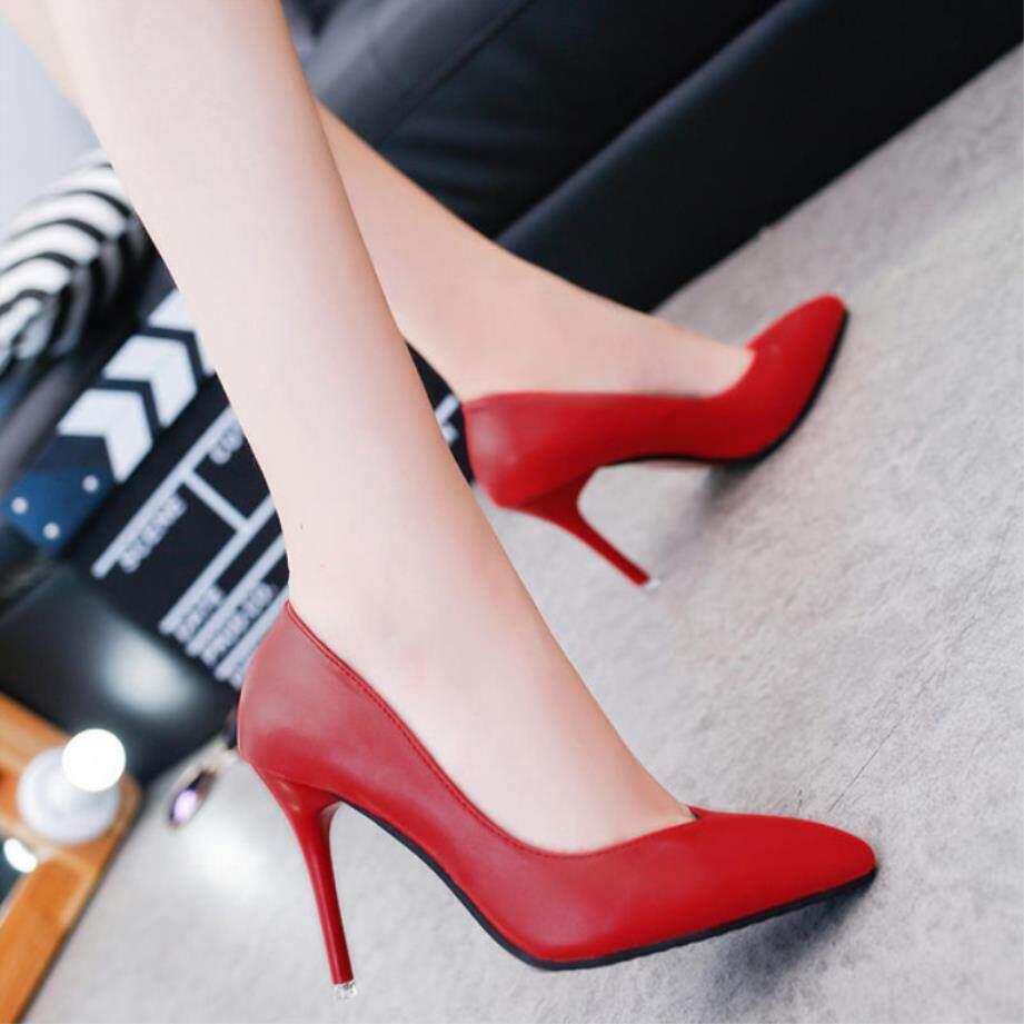 2018 Women Shoes Pointed Toe Pumps Dress Shoes High Heels Boat Shoes Wedding Shoes Tenis Feminino 10cm Square Heel Nightclub