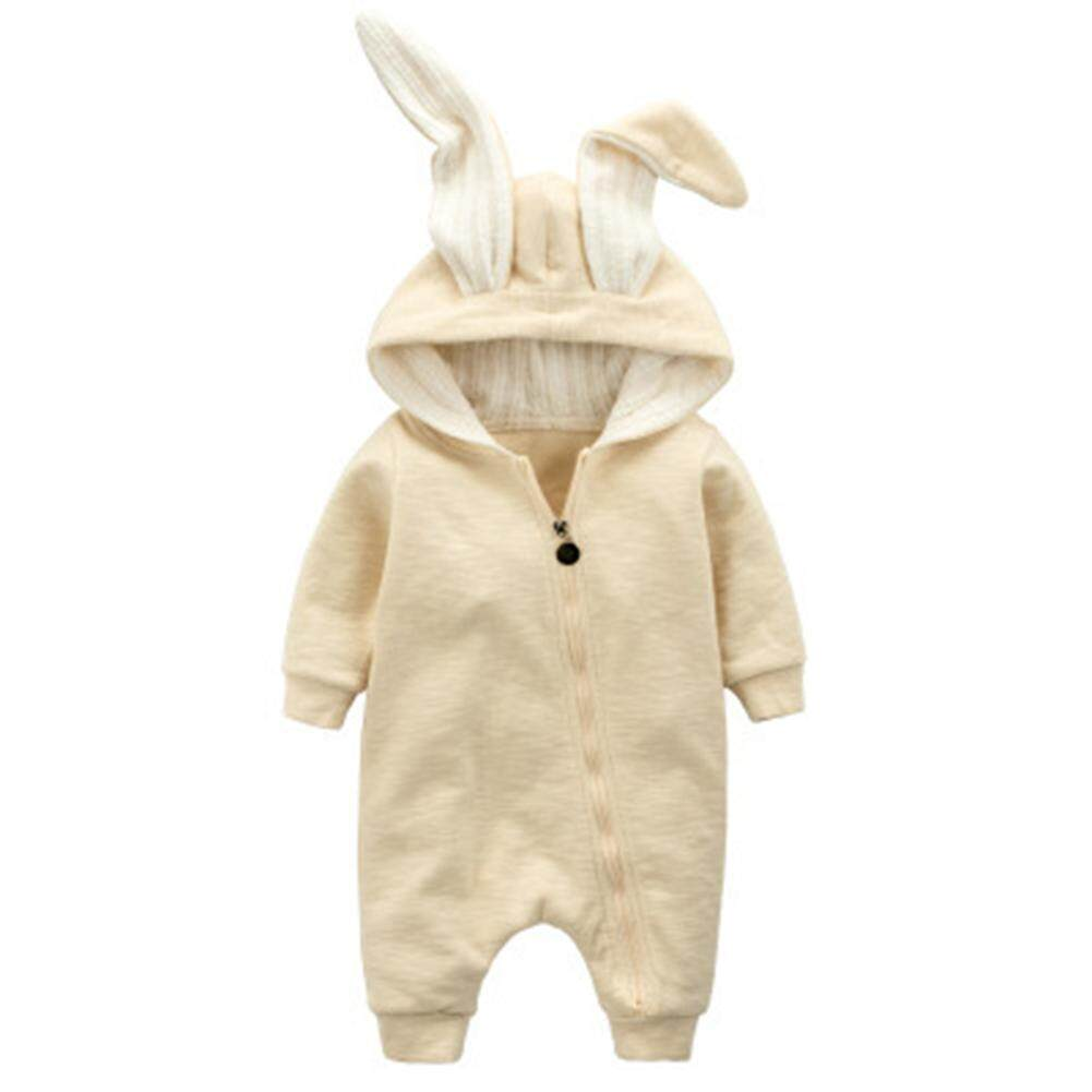 Veecome Newborn Baby Jumpsuit With Rabbit Ears Hooded Cotton Romper Hoodies By Veecome.