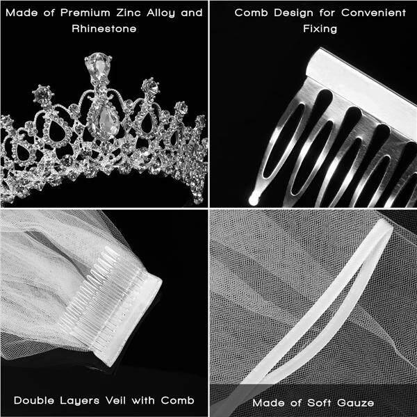 Oe427faaa646zdanid 13653300mewah Elegan Diamante Berlian Imitasi Source · 2 Pcs Frcolor Berlian Buatan Tiara Mahkota Kerudung dengan Sisir Desain Elegan ...