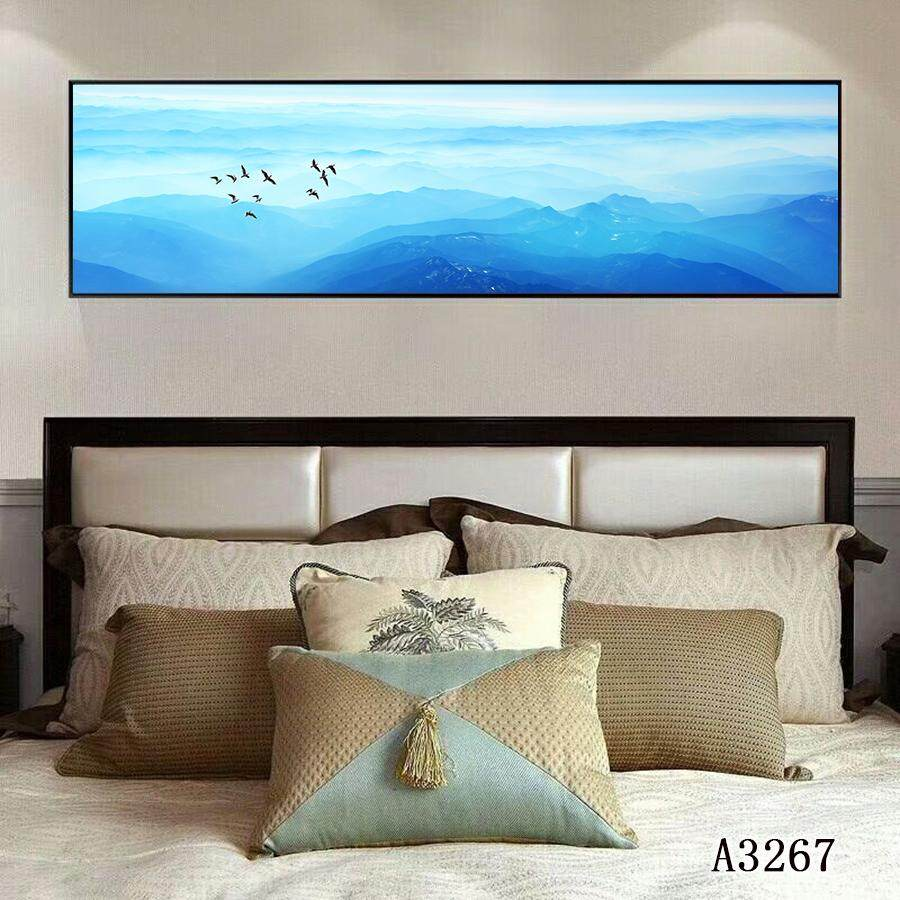 Large Canvas Blue Sky and Mountain Wall Art Modern  Giclee Canvas Print Picture Home Decorative Painting 30*120cm