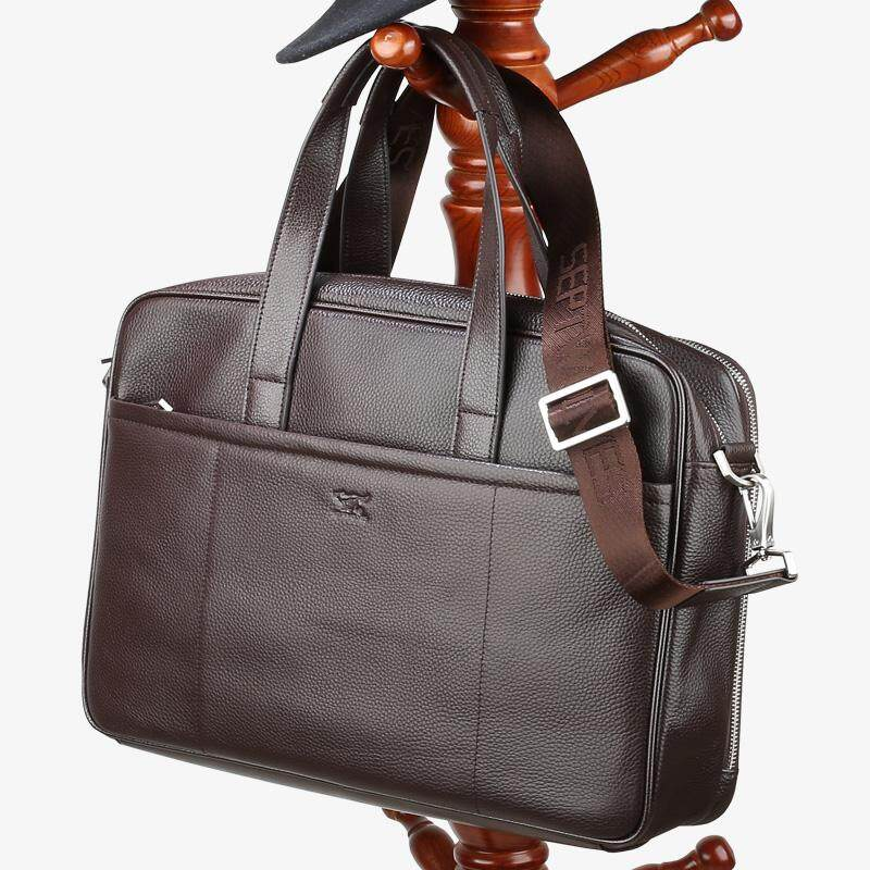 Septwolves Multi-functional Leather Laptop Bag Male Business Trip Middle-aged Briefcase Cross Cowhide File Package