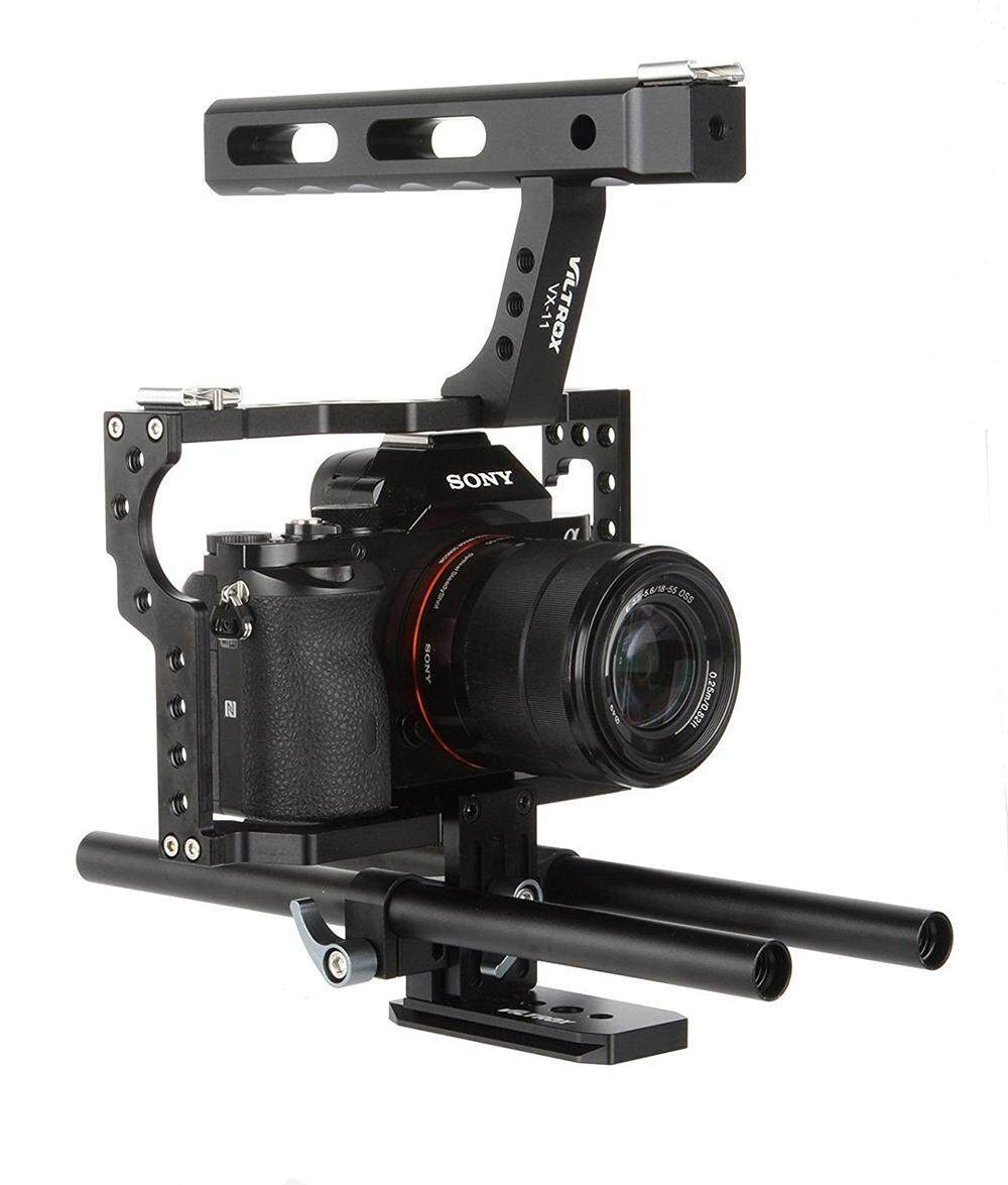 niceEshop Film Movie Making Rig Camera Video Cage Kit With Handle Grip For Sony A7 A7S A7SII A7R A7RII A7II A6000 A6300 A6500 Panasonic GH4 GH3 Cameras To Mount Microphone Monitor LED Flash,