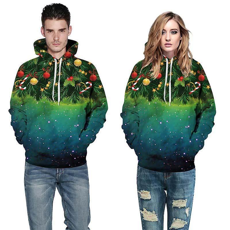 Baru 3D Cetak Tema Natal Pasangan Pullover Kaus Berkerudung Kasual Musim Dingin Musim Gugur Hoodie Longgar