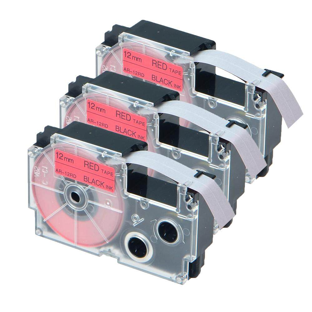 Label Tape XR12RD XR 12RD, 3-Pack XR-12RD Tapes Cassette Compatible Casio