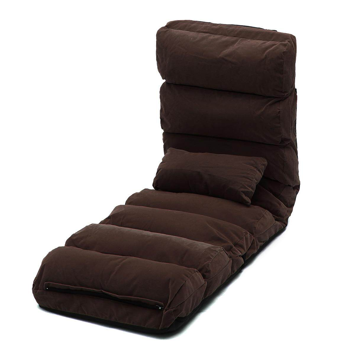 Lounge Sofa Bed Floor Recliner Folding Chaise Chair Adjustable Foldable AU Home Dark coffee(Standard Size)