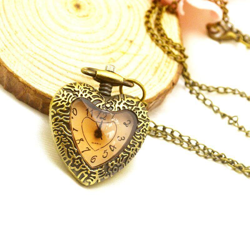 New Retro goddess gift heart heart pocket watch retro girl necklace table linked list manufacturer wholesale Dark Grey Malaysia