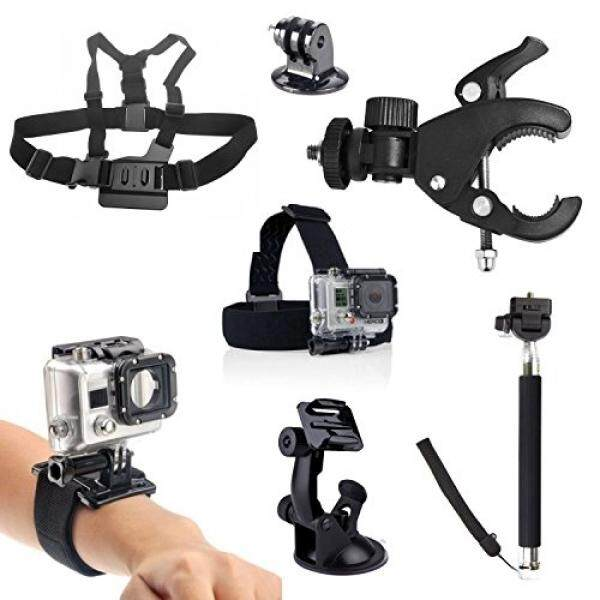 GoPro Accessories Kit (7 in 1), Peyou Sport Camera Accessory Kit for GoPro HD Hero Camera [Head Strap Mount+ Chest Mount+ Wrist Strap+ Suction Cup Car Bracket+ Tripod Mount+ Bicycle Handlebar Bracket] - intl