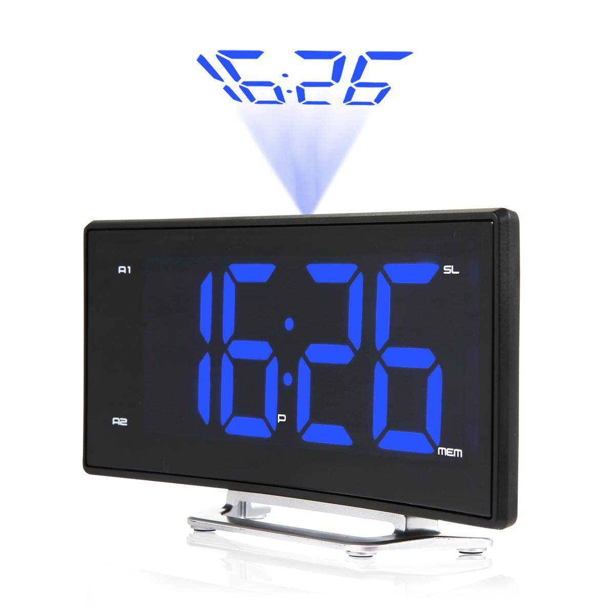 Aolvo Projection Alarm Clock, Digital Alarm Clock with FM Radio, USB Charging Port, Dual Alarms, Snooze Function, Large LED Curved-Screen with Dimmer