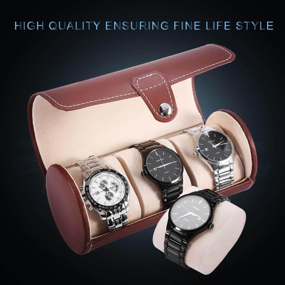 2 Warna 3 Grid Jam Silinder Pemegang Gulungan Pu Jam Tangan Kulit Tampilan Case Perhiasan Kotak