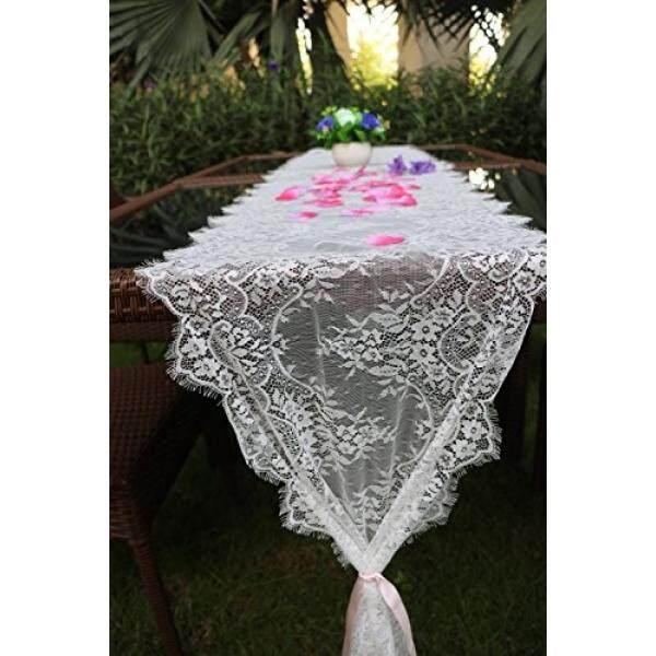 Mimpi Manis Putih Renda Meja Klasik RUNNER 10Ft 16X120 Inches untuk Pesta Pernikahan, Pesta Ulang Tahun, boHo Pesta Dekorasi Pancuran Bayi Pancuran Pengantin Vintage Pedesaan-Intl