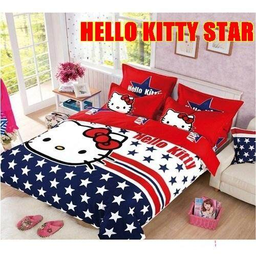 CARTOON BED SHEET HELLO KITTY 11 DESIGN (FITTED) King Size Bed (8 inch height)