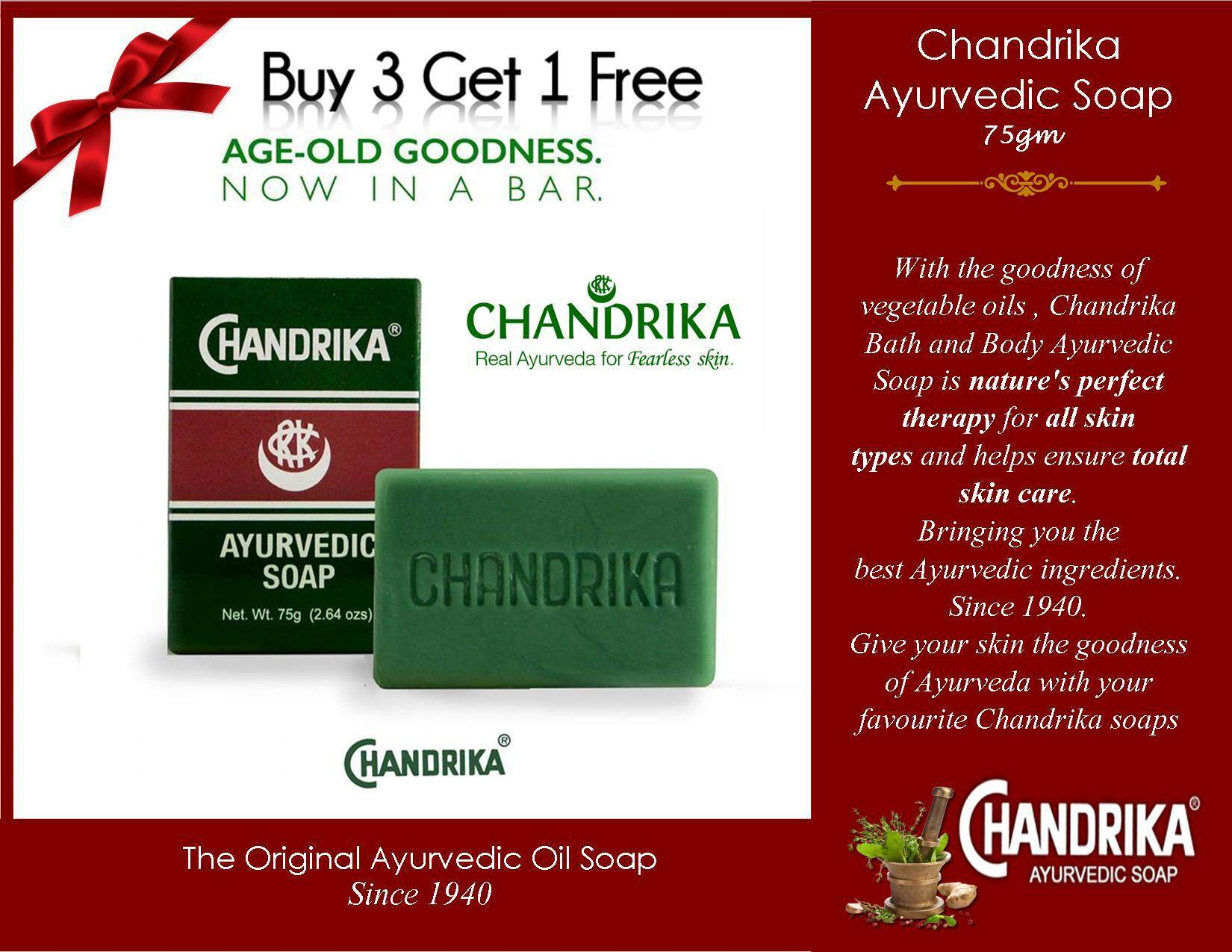 Features Chandrika Bath And Body Ayurvedic Soap 3 X 75g Best For Buy Get 1 Free Oilum Hydrating Care Facial Bar 75gm