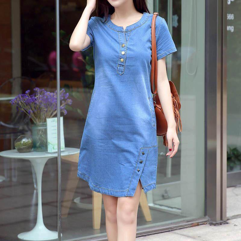 a655bb48714 New fashion large size women's dress denim dress round collar long loose  and thin a skirt