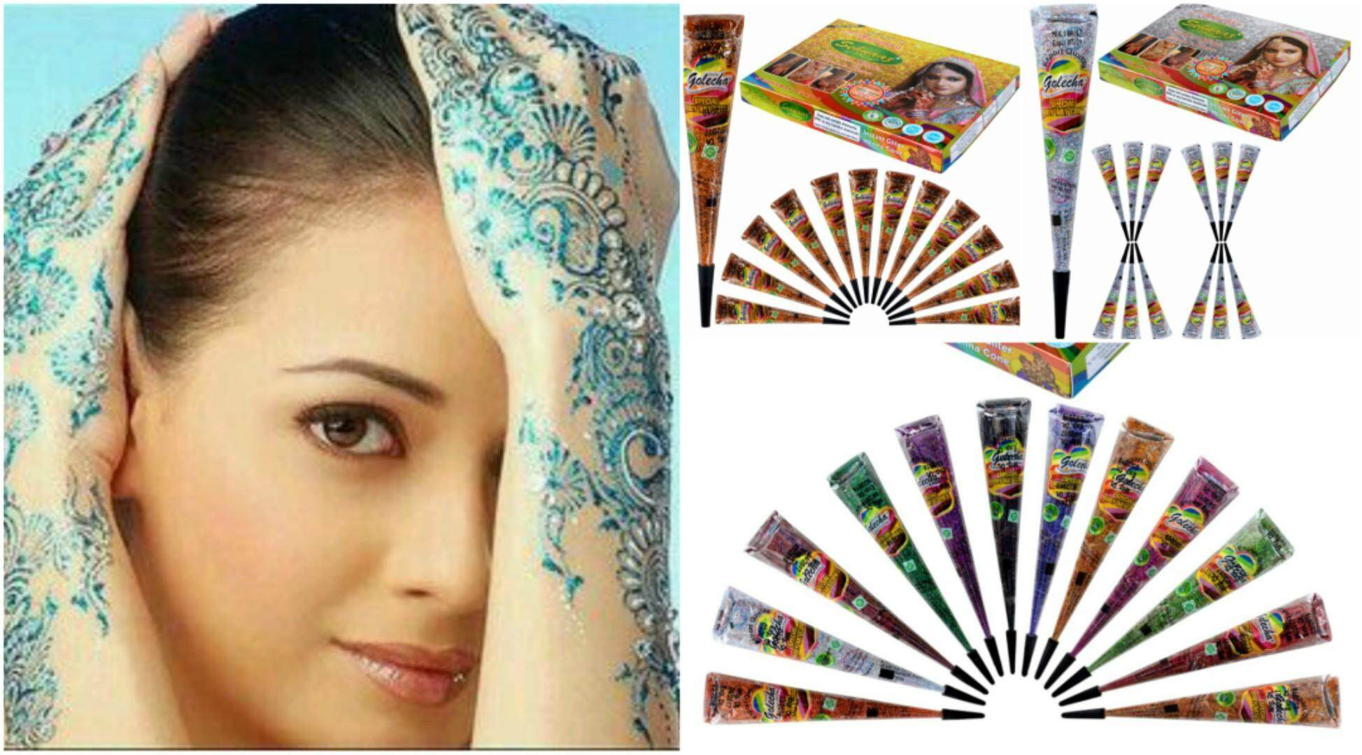 Golecha Glitter Henna Cones Multi Color By Vimals Sehnaaz For