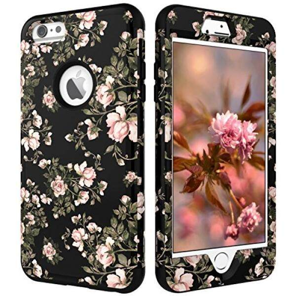 Sarung Telepn Seluler iPhone 6 S Plus Case iPhone 6 Case, VS Case (TM) 3in1 [Shockproof] Drop-Perlindungan Hard Pc Silikon Lembut Combo Hybrid Impact Pertahanan Berat Tugas Tubuh Penuh Case Cover -Bunga Hitam-Intl