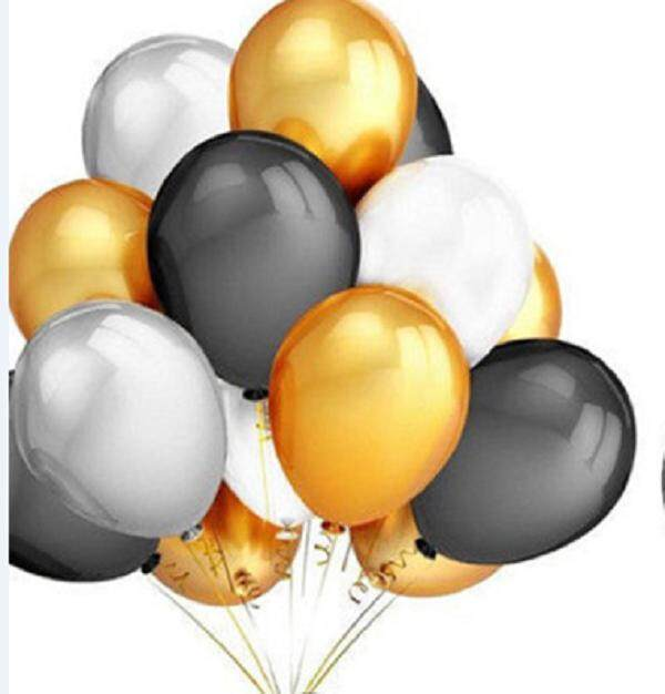Mua 12 Pcs Inflatable Balloons with Ribbon Roll Gold Silver Black Wedding Party Decorations Emulsion Air Balloon Sets