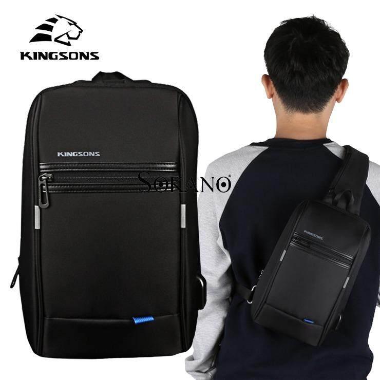 (RAYA 2019) KINGSONS KS3174W 10.1 inches City Elite Bag Designer Water-Resistant Anti-Theft Shoulder Bag with USB Charging Port