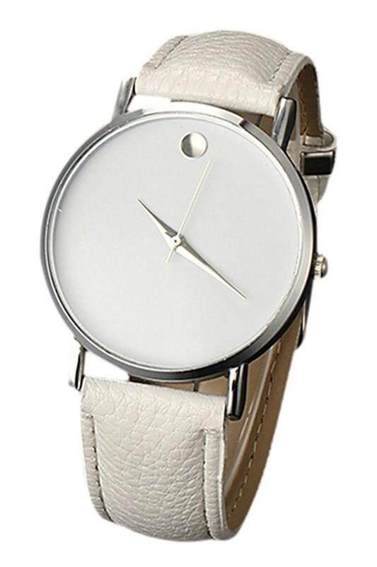 Fashion Unisex Minimalism Wrist Watch (silver Case/White Band) Malaysia
