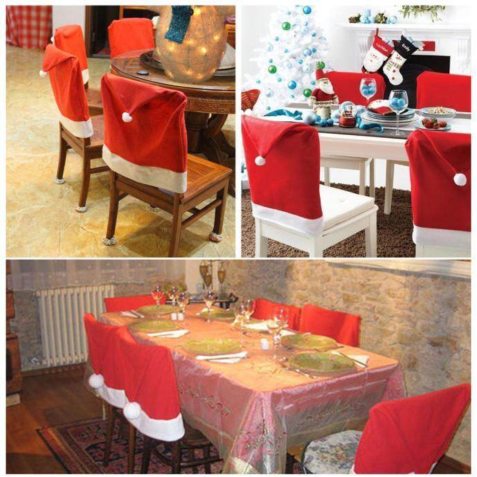 6pcs Christmas Chair Covers Santa Hat Cap Dinner Table Decor Party Gift Xmas