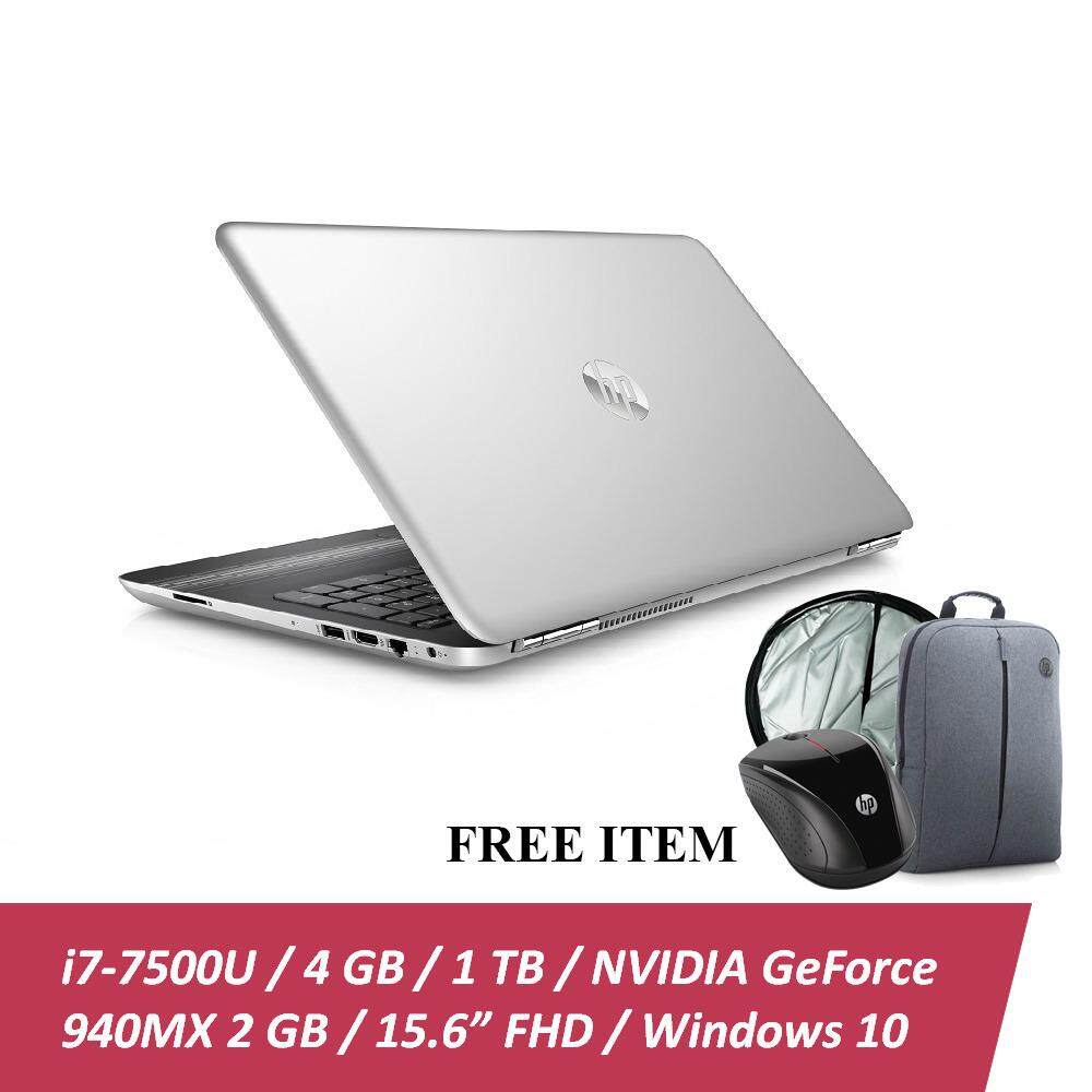 HP Pavilion 15-au104TX Laptop (i7-7500U, 4GBD4, 1TB, 940MX 2GB, 15.6 FHD, Win10) - Natural Silver + Free Backpack n HP X3000 Wireless Mouse & Car Sunshade + RM100 Shopping Voucher (Online Redeem) Malaysia