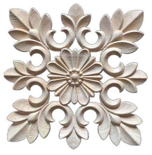 1X Rubber Wood Carved Floral Decal Craft Onlay Applique Furniture DIY Decor #C:20*20cm - intl