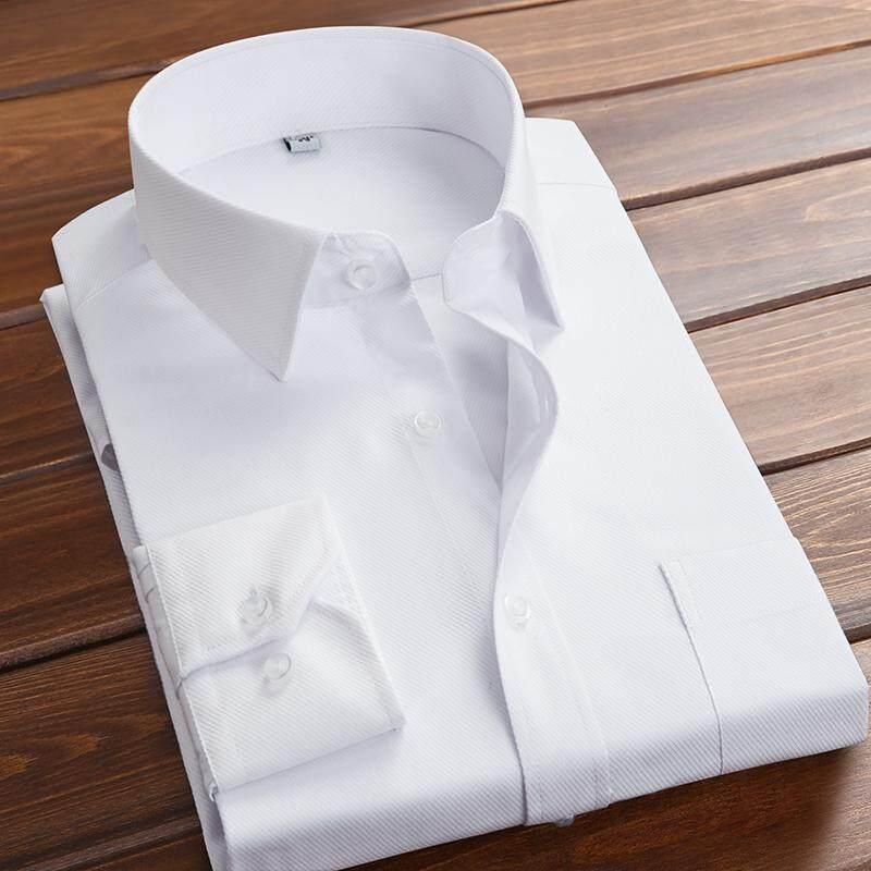 Detail Gambar YIWEN Pria Lengan panjang kemeja putih membentuk tubuh Gaya Korea bisnis Kemeja Profesi formal