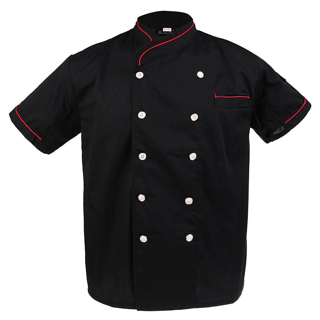 Magideal Unisex Chef Jackets Waiter Coat Short Sleeves Chef Uniforms Back Mesh 2xl Red By Magideal.
