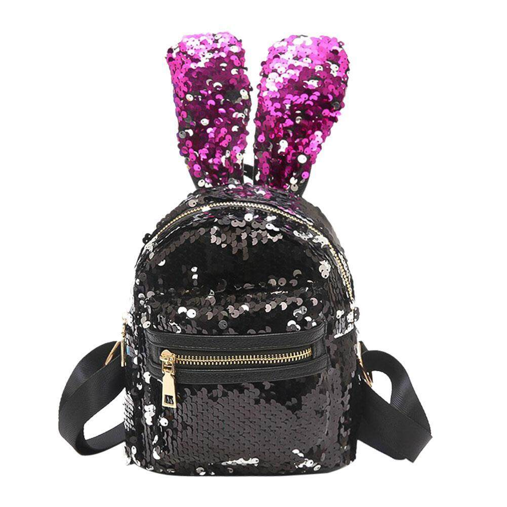 Anything4you Fashion Mini Shining Sequins Backpack Rabbit Ear Shoulder Bags Gift for Women Baby Girls -