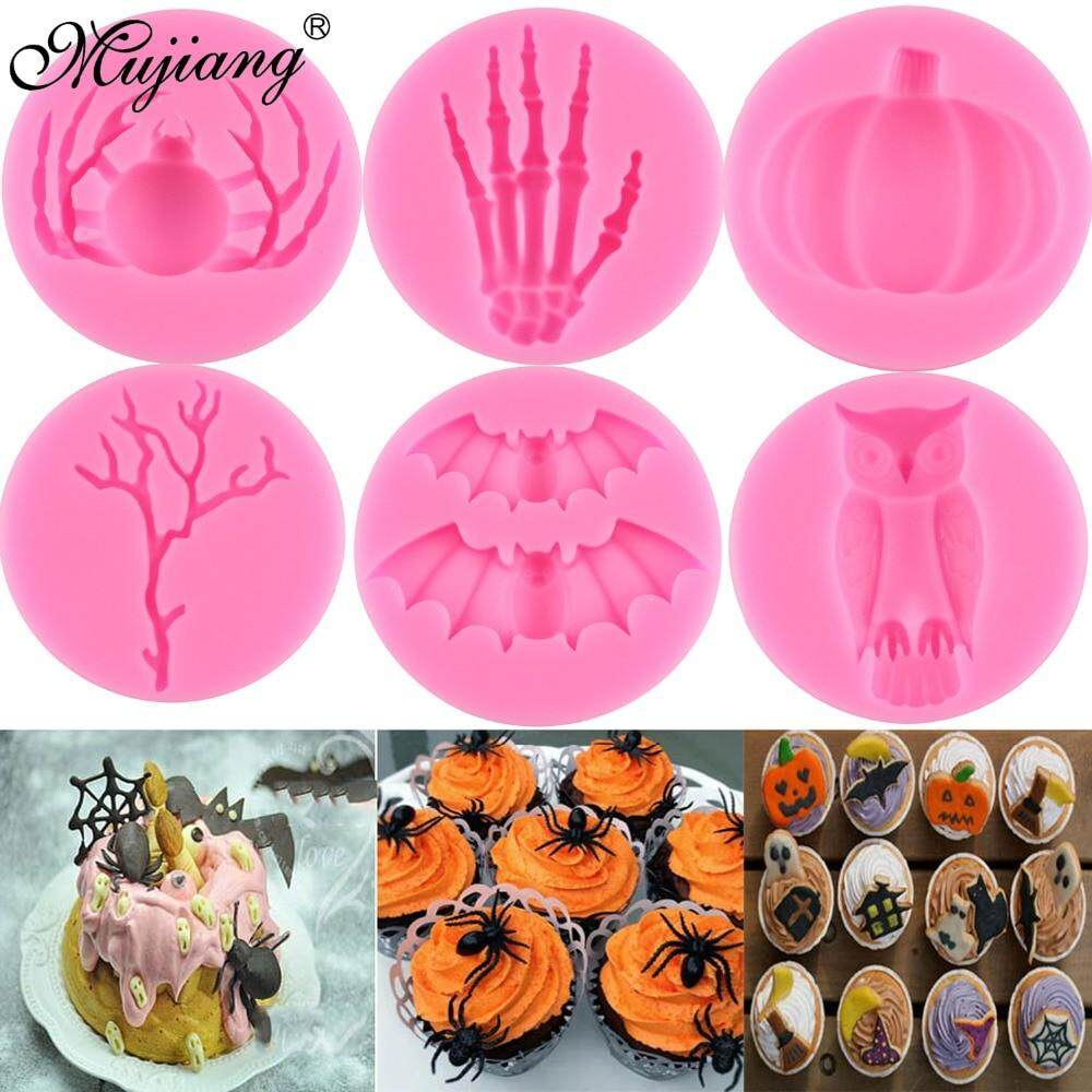 Halloween DIY Skeleton Spider Pumpkin Owl Bat Silicone Molds Fondant Cake Decorating Tools Candy Clay Chocolate