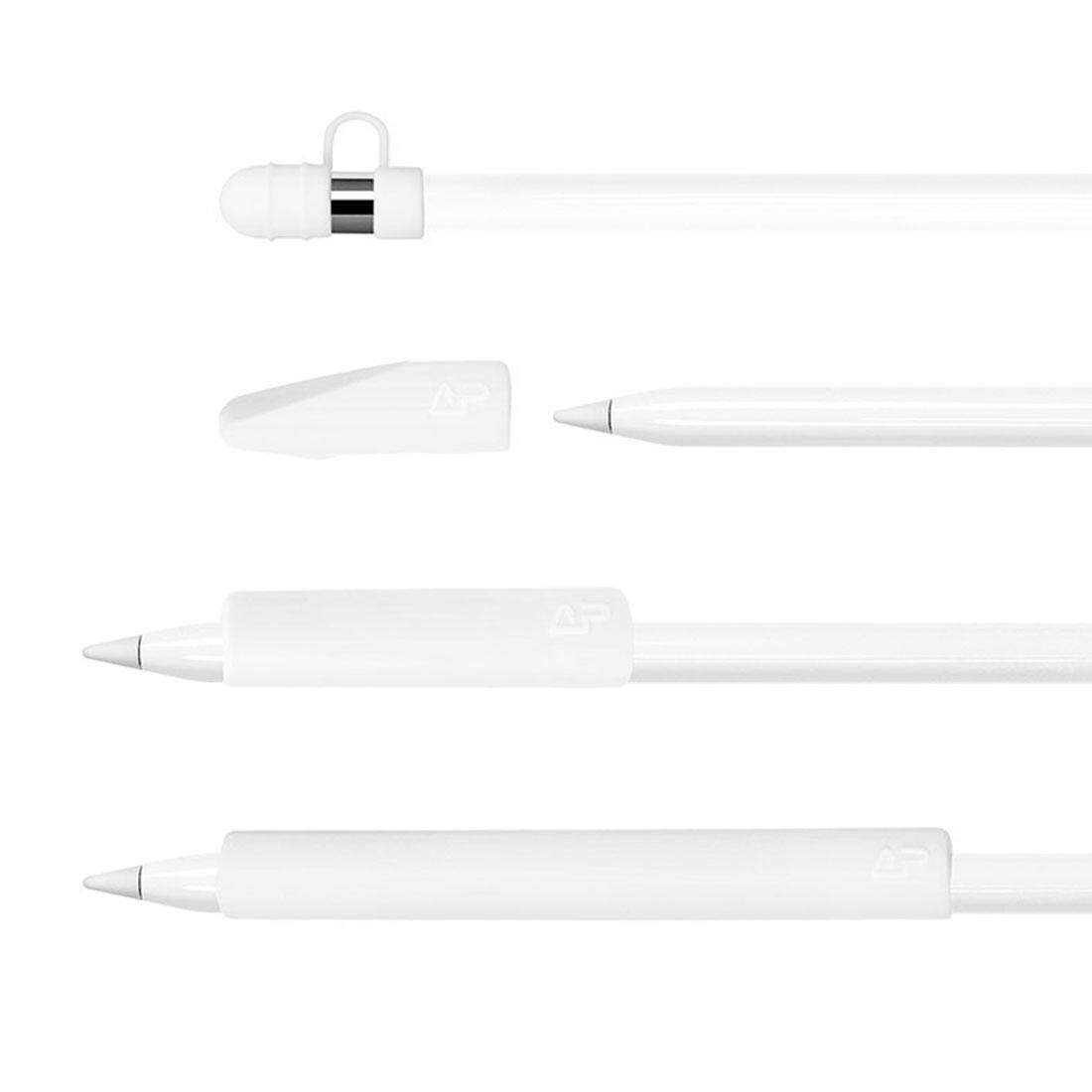 For Apple Pencil / iPad Pro Creative 4 in 1 Anti-lost (Pencil Cap + Pencil Point + 2*Penholder Cover) TouchPen Silicone Protective Set(White)