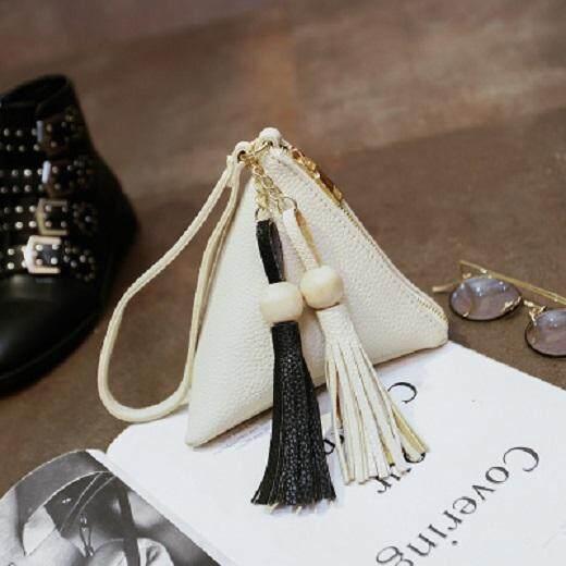 [PRE-ORDER] Women Triangle Tassel Zipped Handbag