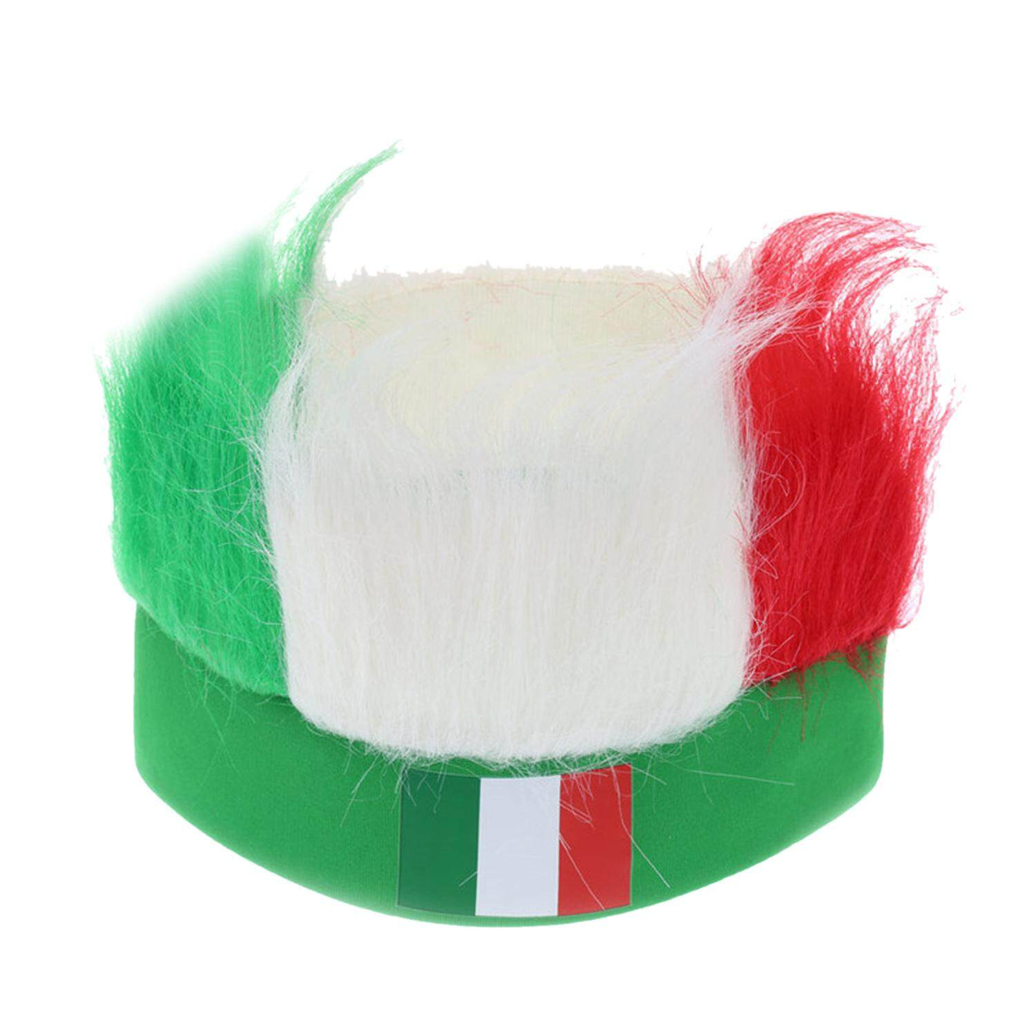 Novelty Cool 2018 World Cup Hair Wig Football Soccer Fans Hats Headband with National Flag Color Italy - intl