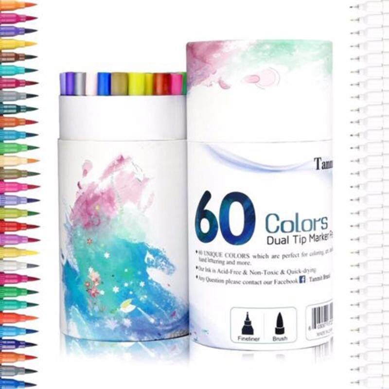 Mua 60 Màu Dual Bàn Chải Đầu Bút Đánh Dấu Bút Bộ Nghệ Thuật Sơn Rộng Fineliners Màu Nước