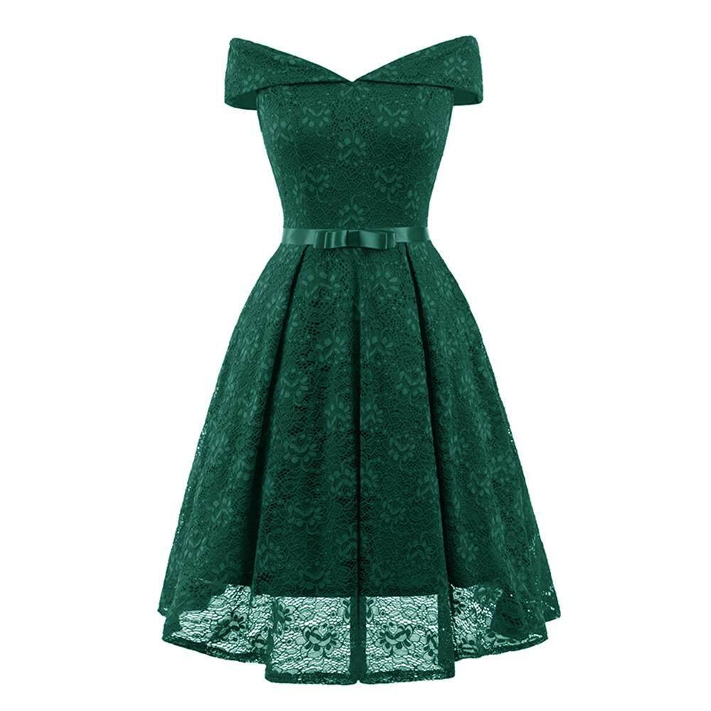 9b182a74f5f Women Vintage Lace Dress Big Size Slash Neck Off Shoulder Floral Evening  Party Swing Dresses Retro