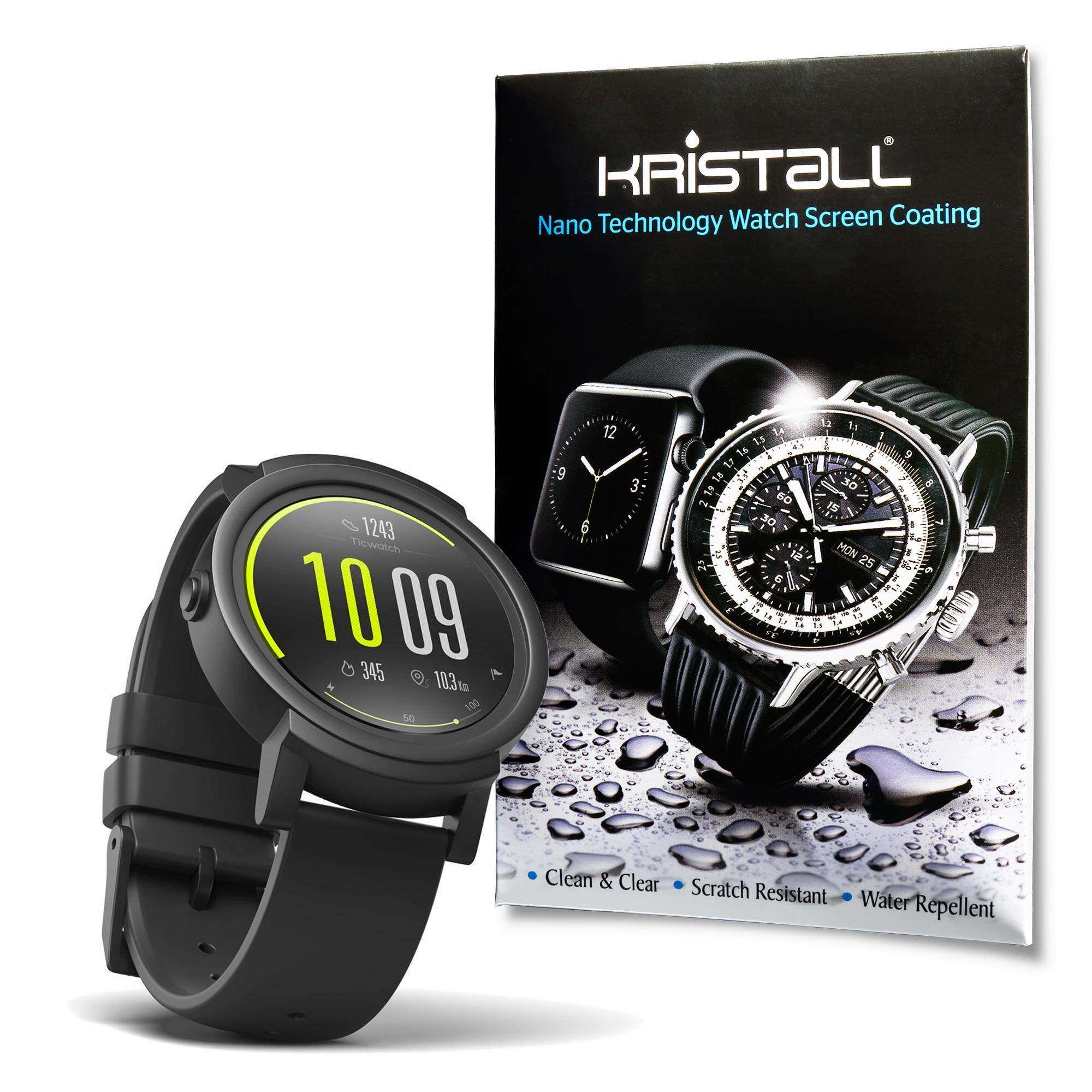 Ticwatch E Screen Protector - Kristall® 9H Hardness Full Coverage Liquid Nano Coating Screen Protector for Smartwatches (Bubble-FREE Screen Protector, EASY to Apply, Edge-to-Edge Protection)