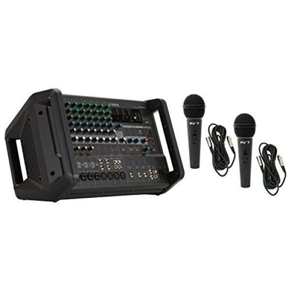 Yamaha EMX5 12 Channel 1260 W Power Amplifier Powered Audio Mixer with 8 Mono Mic/Line Inputs and Onboard DSP with 2 microphones and Microphone Cables