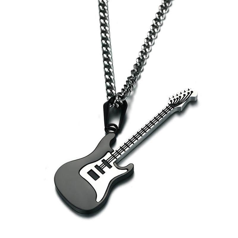 Bzy Kalung Gitar untuk Pria/Wanita Hadiah Pecinta Musik Baja Anti Karat Liontin & Rantai