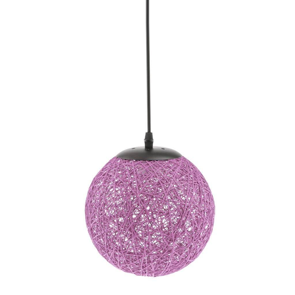 BolehDeals Rattan Wicker Woven Ball Globe Ceiling Pendant Light Lamp Shade 20cm purple