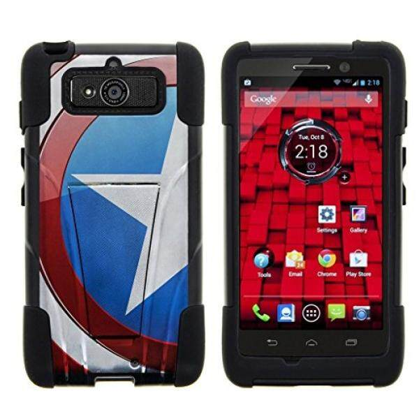 Smartphone Case S Case S Mini Turtle Case Kompatibel dengan Motorola Droid Stan Mini Case, Droid Mini Shell XT1030 Case [Strike Dampak] Bumper Lapisan Peindung Keras Dual Action Casing Silikon W/Stand Perisai Amerika Bendera-Intl