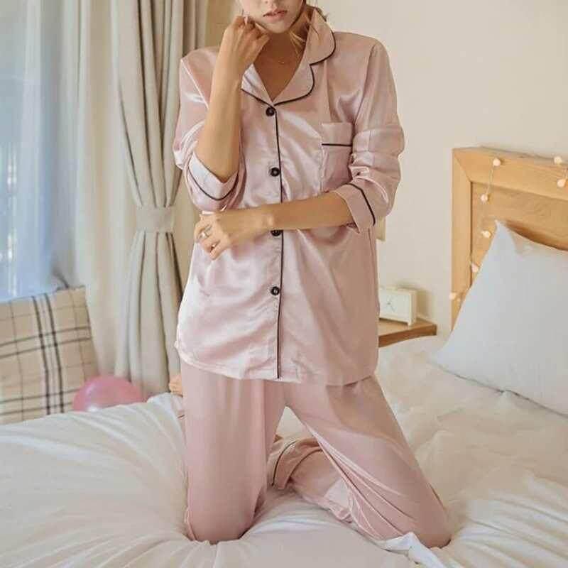 83007ce1e735 Yuchen Womens Silk Satin Pajamas Pyjamas Set Long Sleeve Sleepwear Pijama  Pajamas Suit Female Sleep Two