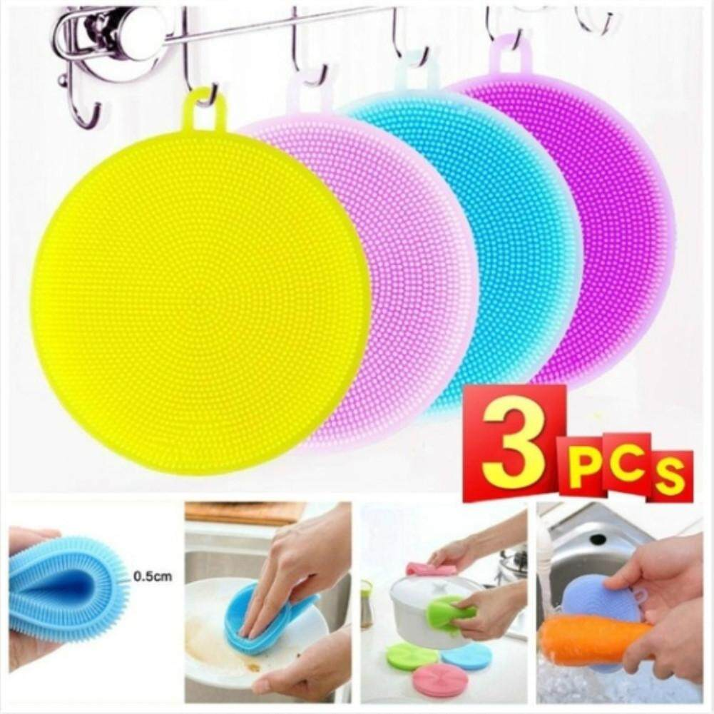 Redcolourful 3pcs Multi-Used Clean Dishwashing Soft Silicone Sponge Scrubber Cleaning Antibacterial Kitchen Tool By Redcolourful.