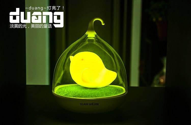 LED Yellow Birdcage Lamp
