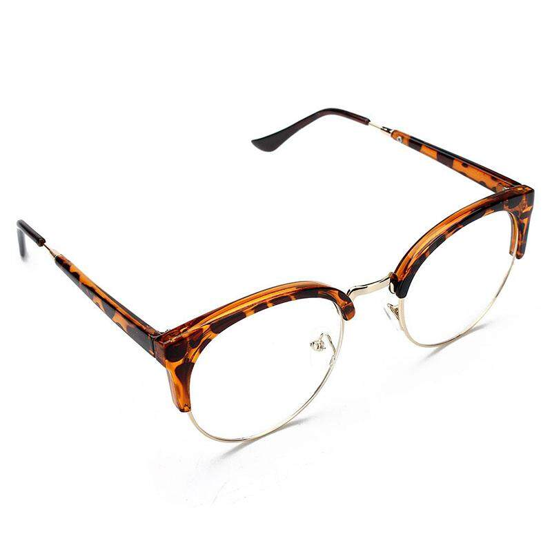 Retro Style Women Men Round Nerd Glasses Clear Lens Eyewear Metal Frame Glasses Colors:Leopard
