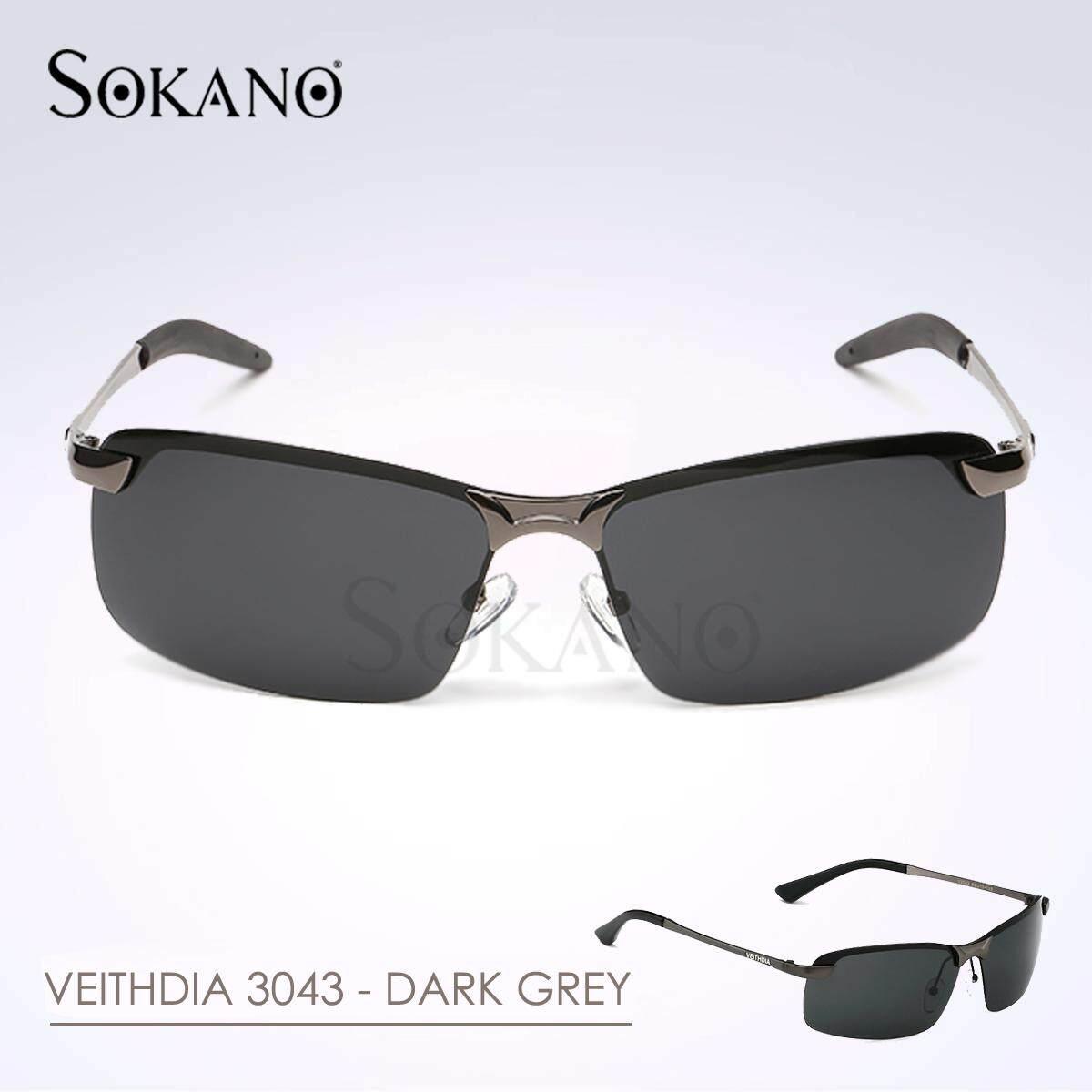 (RAYA 2019) VEITHDIA 3043 Polarized Aviator Design Men Sunglasses- Dark Grey