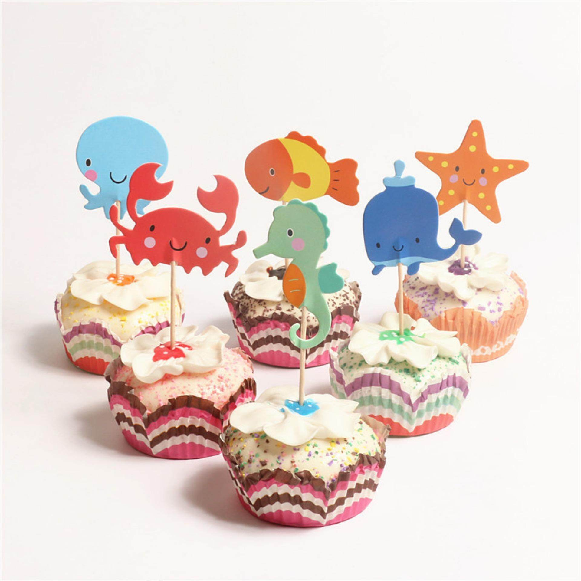 Veli Shy 24pcs Ocean Cupcake Toppers Whale Hippocampus Starfish Cake Picks Party Decorations - Intl By Veli Shy.