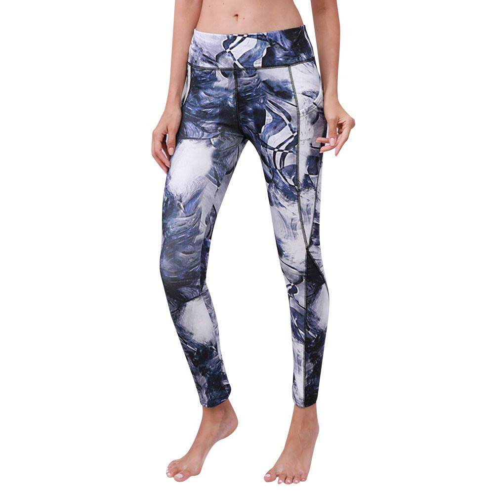 a879691b7de Women High Waist Pocket Printed Sports Gym Yoga Running Fitness Leggings  Pants