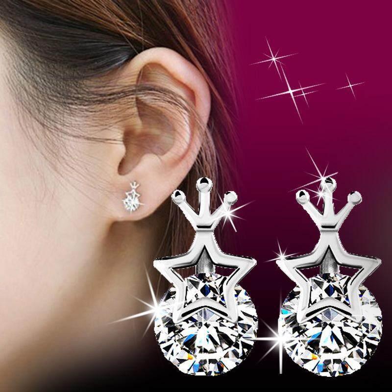 【Bln-Jewelry】new Putri Mahkota Star Star Anting-anting Perak Anting Wanita Anting-Anting Hadiah-Intl
