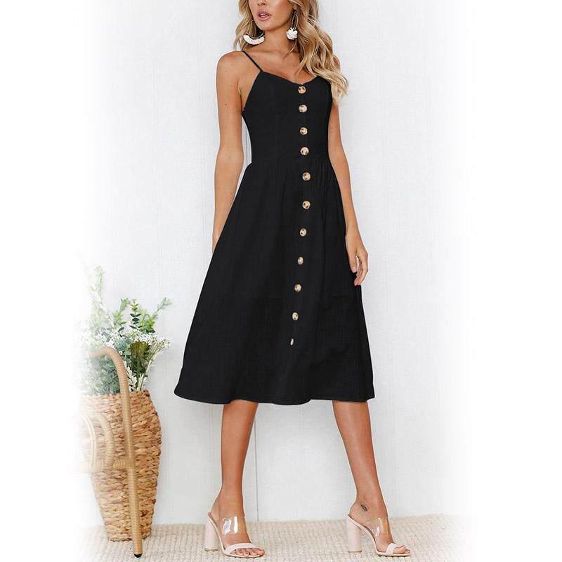 dacd6a2bee25 Amart Korean Fashion Women Single Button Strap Dress Long Boho Beach  Sundress Dresses - intl