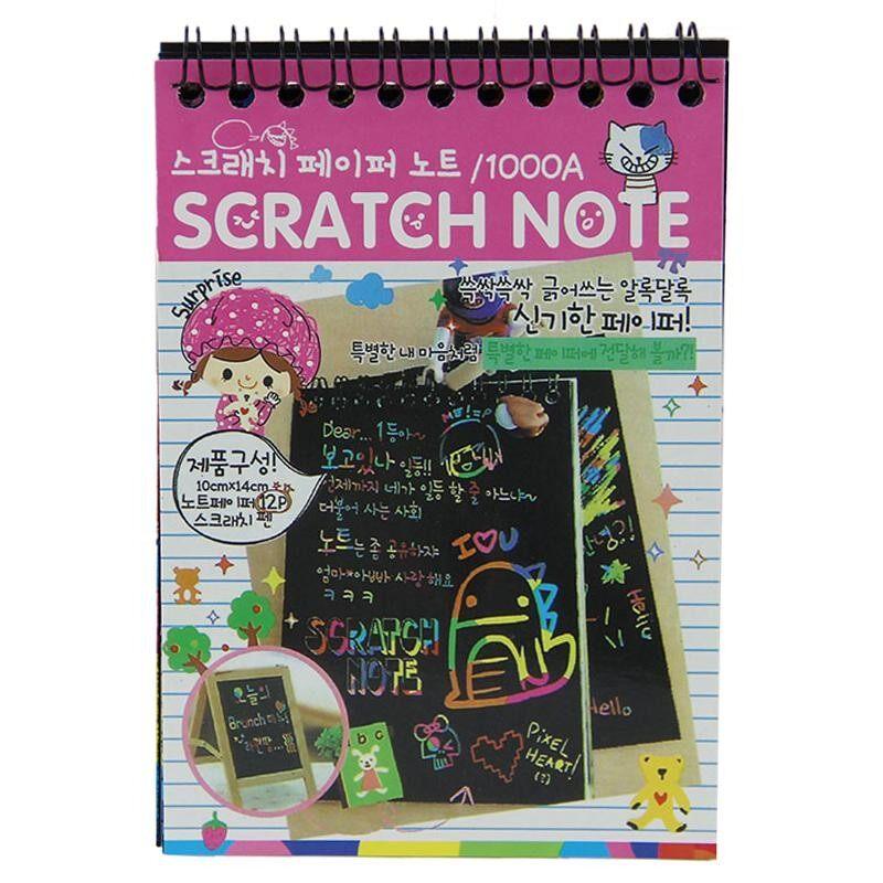 Mua 1pcs Scratch Note Black Cardboard Creative DIY Draw Sketch Notes for Kids Toy Notebook School Supplies(Pink) - intl