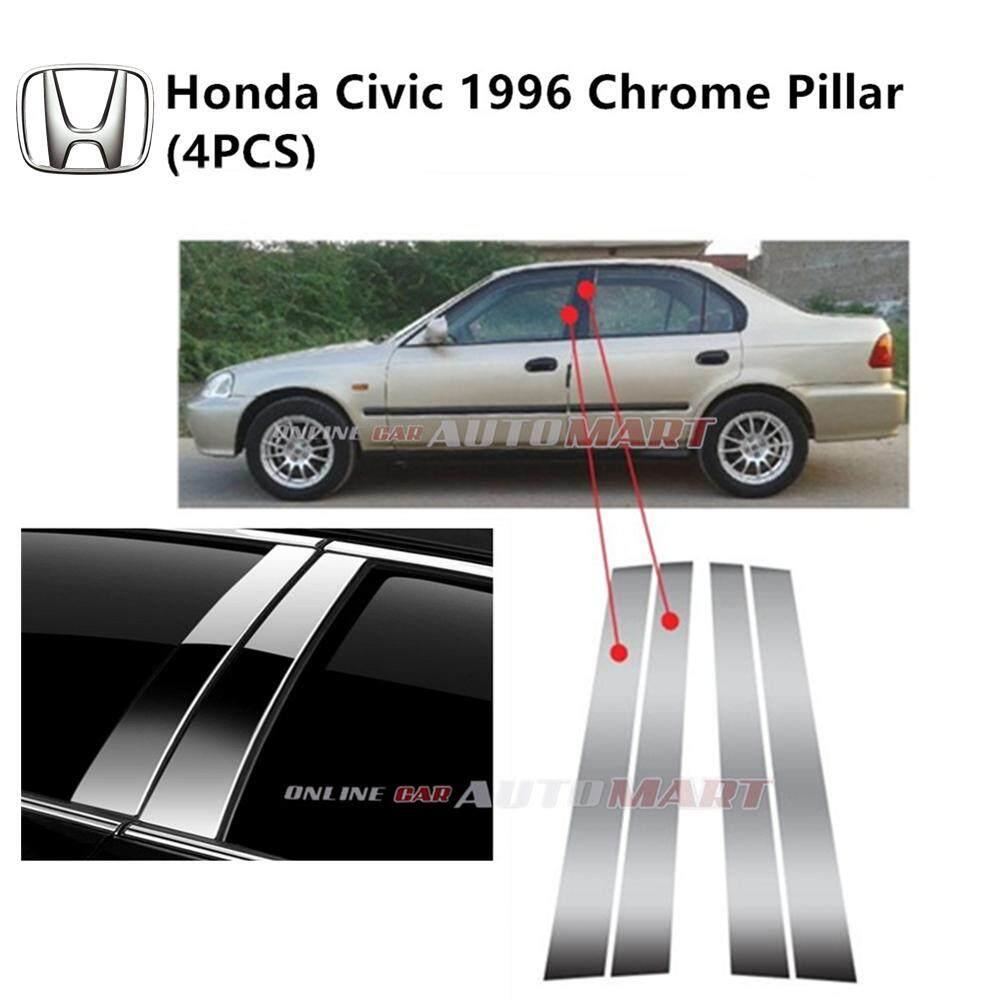 Honda Civic Yr 1996- Car Chrome Door Window Pillar Trim Panel Chrome Stainless Steel (1 Set)
